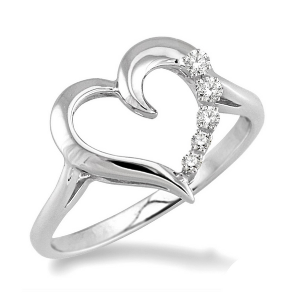 Sterling Silver 1/50 Carat Diamond Heart Ring Robert Irwin Jewelers Memphis, TN
