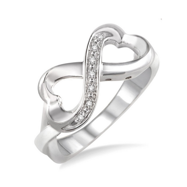 Sterling Silver 1/50 Carat Diamond Heart Infinity Ring Robert Irwin Jewelers Memphis, TN