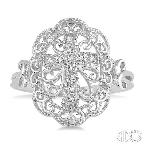 1/20 Ctw Round Cut Diamond Cross In Oval Ring in Sterling Silver Robert Irwin Jewelers Memphis, TN