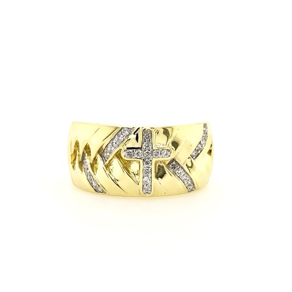 10k Yellow Gold 0.25ctw Diamond Gents Cross Ring Robert Irwin Jewelers Memphis, TN