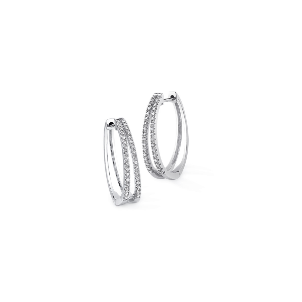 10k White Gold 0.25ctw Double Row Diamond Hoop Earrings Robert Irwin Jewelers Memphis, TN