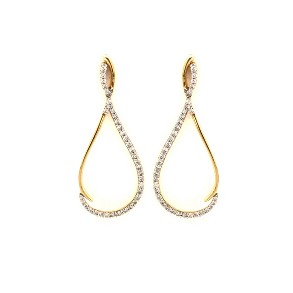 14k Yellow Gold 1.50ctw Diamond Tear Drop Earrings Robert Irwin Jewelers Memphis, TN