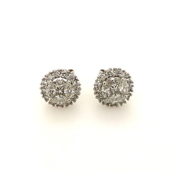 14k White Gold 1.00ctw Diamond Cluster Halo Earrings Robert Irwin Jewelers Memphis, TN