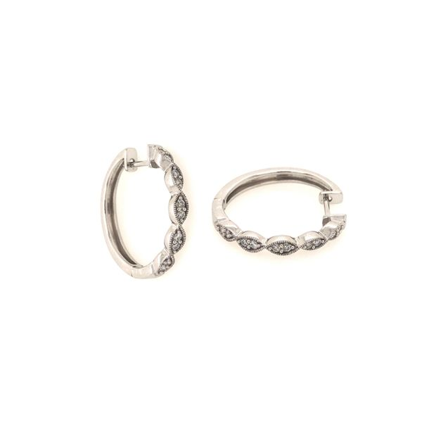 10k White Gold 0.20ctw Diamond Hoop Earrings Robert Irwin Jewelers Memphis, TN