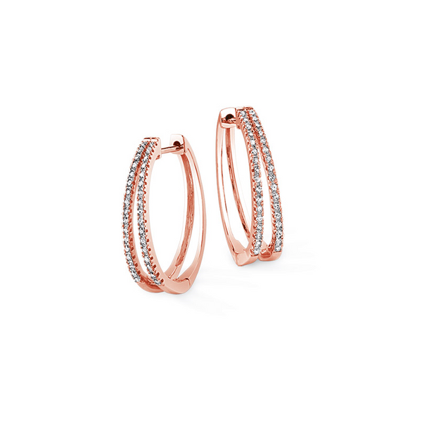 10k Rose Gold 0.25ctw Double Row Diamond Hoop Earrings Robert Irwin Jewelers Memphis, TN