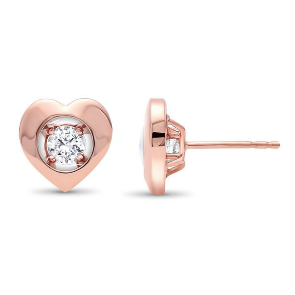 10k Rose Gold 1/7ctw Magnify Diamond Heart Earrings Robert Irwin Jewelers Memphis, TN