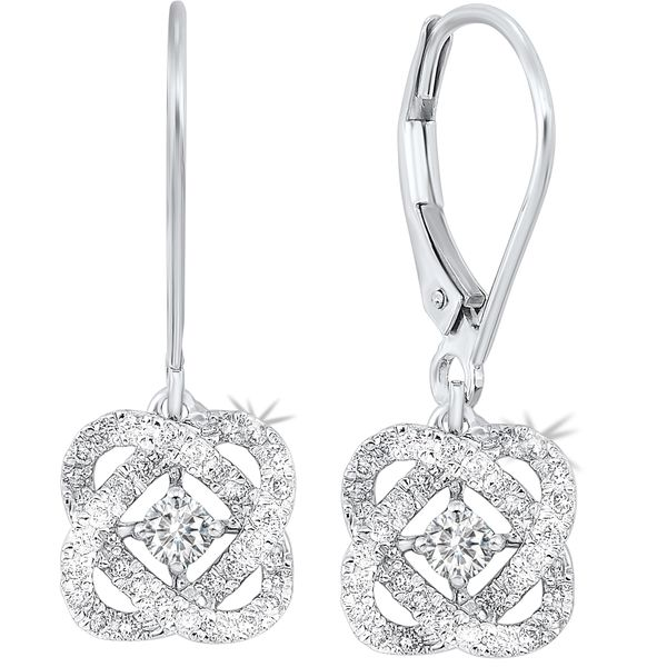14k White Gold 1ctw Love's Crossing Diamond Earrings Robert Irwin Jewelers Memphis, TN