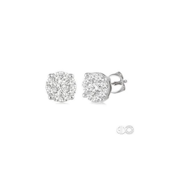 14k White Gold 3/4ctw Diamond Cluster Earrings Robert Irwin Jewelers Memphis, TN