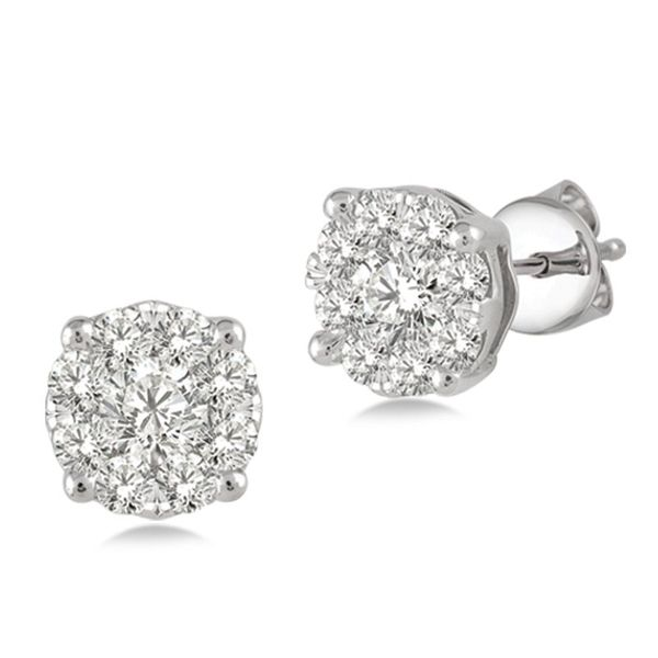 14k White Gold 1ctw Diamond Cluster Earrings Robert Irwin Jewelers Memphis, TN