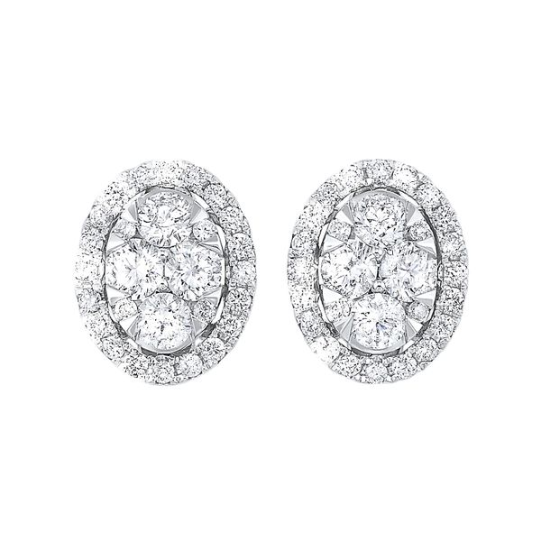 14k White Gold 3/4ctw Oval Cluster Diamond Earrings Robert Irwin Jewelers Memphis, TN
