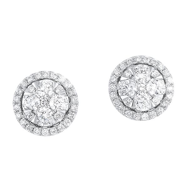 14k White Gold 3/4ctw Round Halo Cluster Earrings Robert Irwin Jewelers Memphis, TN