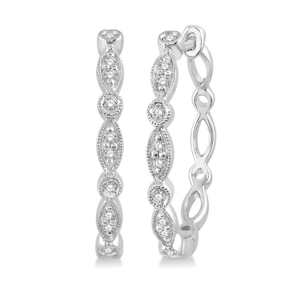 10k White Gold 1/6ctw Marquise and Circle Motif Round Cut Diamond Hoop Earrings Robert Irwin Jewelers Memphis, TN