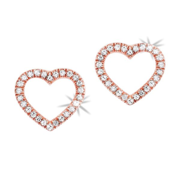 14k Rose Gold 0.10ctw Diamond Heart Earrings Robert Irwin Jewelers Memphis, TN