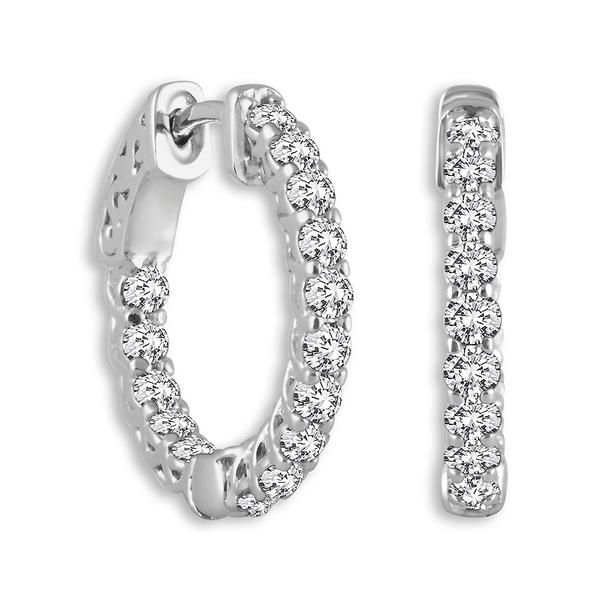 14k White Gold Round 1.56ctw Diamond Hoop Earrings Robert Irwin Jewelers Memphis, TN