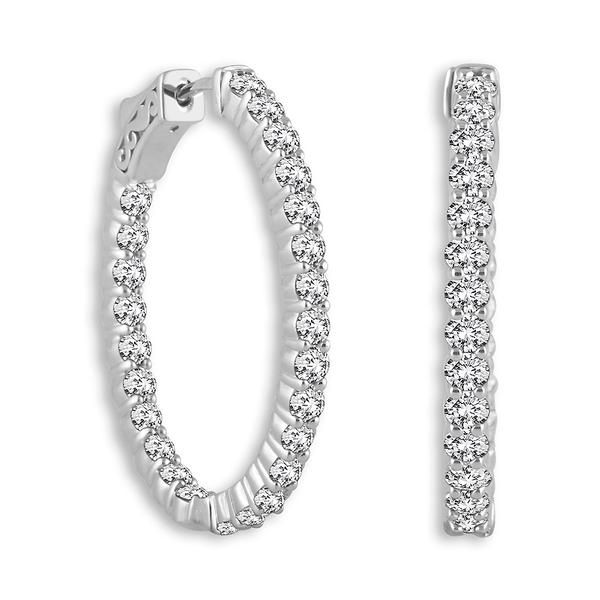 14k White Gold Oval Shape Shared Prong 1.20ctw Diamond Hoop Earrings Robert Irwin Jewelers Memphis, TN