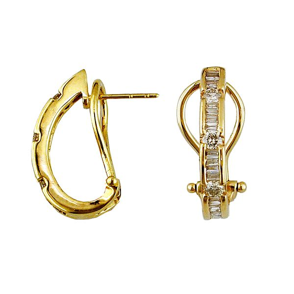 14k Yellow Gold 0.75ctw Round and Baguette Diamond Drop Earrings Robert Irwin Jewelers Memphis, TN