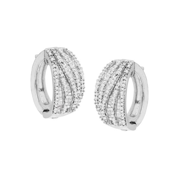 Sterling Silver 1ctw Diamond Wide Hoop Earrings Robert Irwin Jewelers Memphis, TN