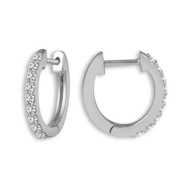 14k White Gold 0.25ctw Diamond Hoop Earrings Robert Irwin Jewelers Memphis, TN