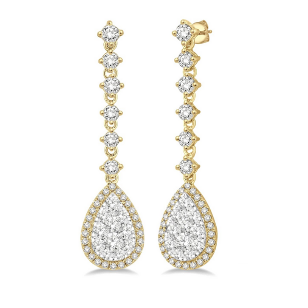14k Yellow and White Gold 3.90ctw Diamond Couture Pear Drop Earrings Robert Irwin Jewelers Memphis, TN