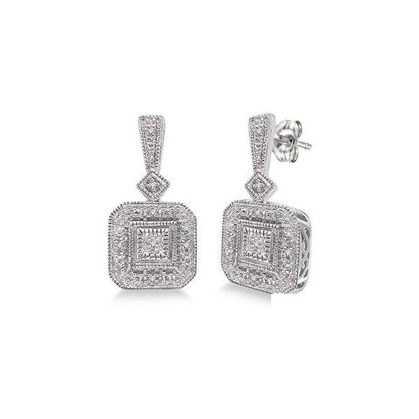 Sterling Silver 1/20ctw Single Cut Vintage Diamond Earrings Robert Irwin Jewelers Memphis, TN