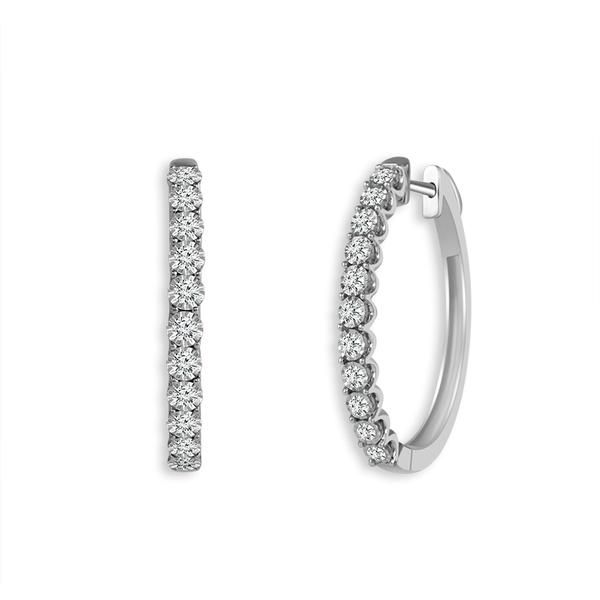 10k White Gold 0.25ctw Diamond Hoop Earrings Robert Irwin Jewelers Memphis, TN