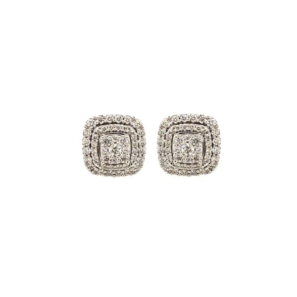 10k White Gold 0.62ctw Diamond Cluster Halo Screwback Earrings Robert Irwin Jewelers Memphis, TN