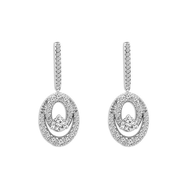10 Karat White Gold 3/4 Carat Oval Forever Us Diamond Earrings Robert Irwin Jewelers Memphis, TN