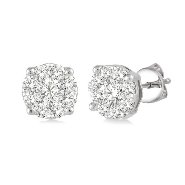14 Karat White Gold 1 Carat Lovebright Diamond Earrings Robert Irwin Jewelers Memphis, TN
