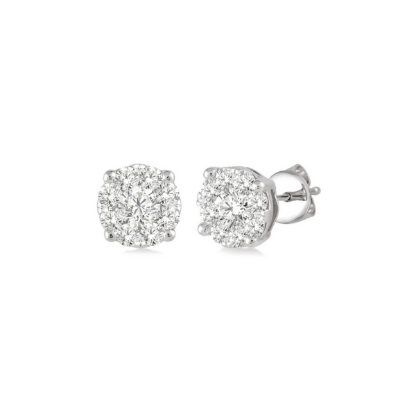 14 Karat White Gold 1/3 Carat Lovebright Diamond Earrings Robert Irwin Jewelers Memphis, TN