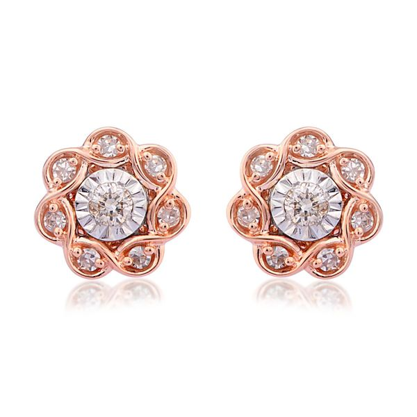 10 Karat Rose Gold 1/6 Carat Diamond Earrings Robert Irwin Jewelers Memphis, TN
