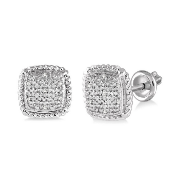 Sterling Silver 1/20 Carat Diamond Earrings Robert Irwin Jewelers Memphis, TN