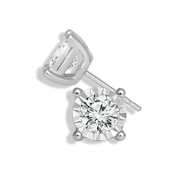 Sterling Silver 1/10 Carat Round Miracle Diamond Stud Earrings Robert Irwin Jewelers Memphis, TN