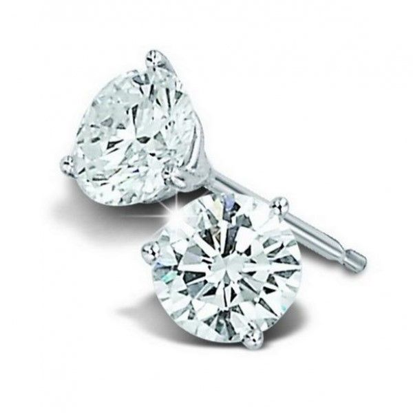 14k White Gold 0.50ctw Martini Set Diamond Stud Earrings Robert Irwin Jewelers Memphis, TN