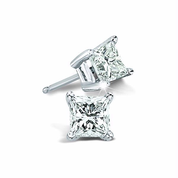 14k White Gold 0.33ctw Princess Cut Diamond Four Prong Studs Robert Irwin Jewelers Memphis, TN