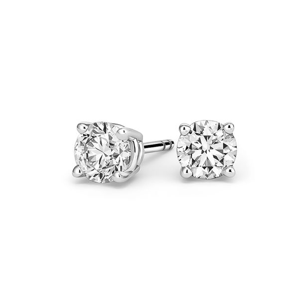 14k White Gold 0.30ctw Round Diamond Stud Earrings Robert Irwin Jewelers Memphis, TN