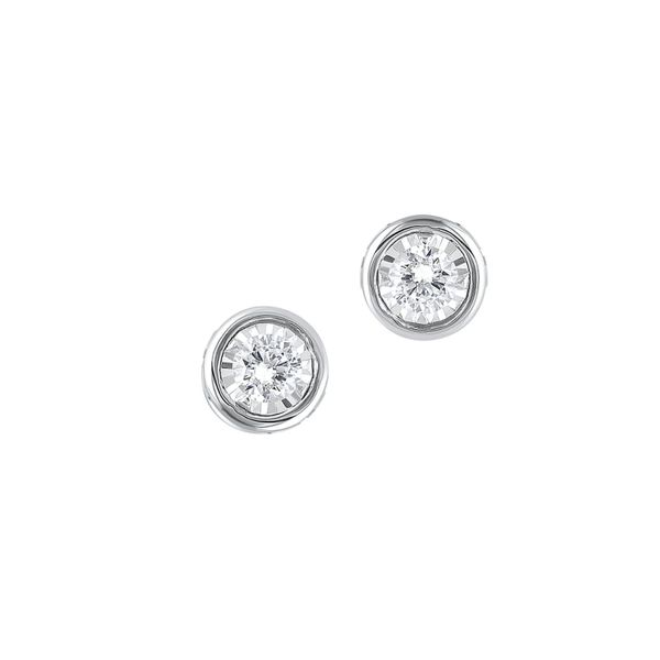 14k White Gold 1/6ctw Round Diamond Bezel Stud Earrings Robert Irwin Jewelers Memphis, TN