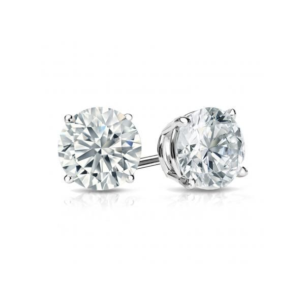14k White Gold 1.00ctw Round Diamond Four Prong Studs Robert Irwin Jewelers Memphis, TN
