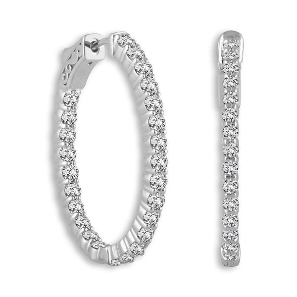 14k White Gold 1.50ctw Diamond Oval Hoop Earrings Robert Irwin Jewelers Memphis, TN