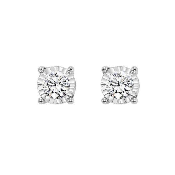 14k White Gold 3/4ctw Round Miracle Diamond Stud Earrings Robert Irwin Jewelers Memphis, TN