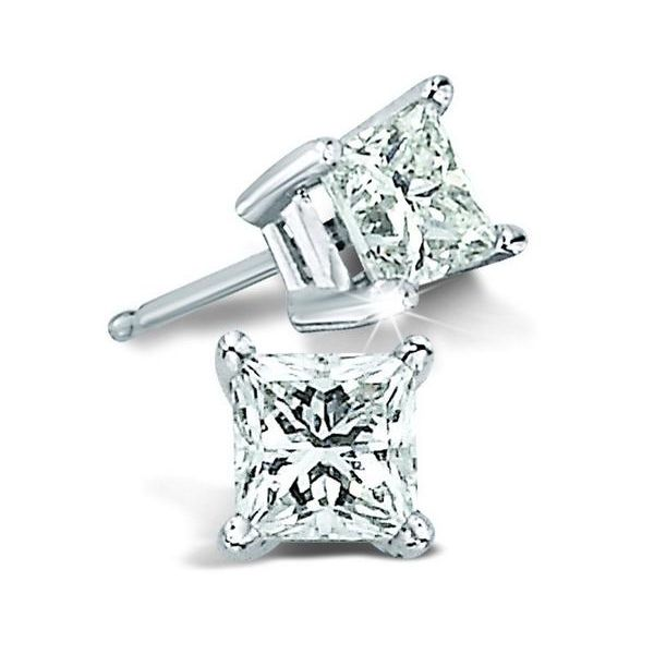 14k White Gold 3/4 Carat Princess Cut Diamond Solitaire Earrings Robert Irwin Jewelers Memphis, TN