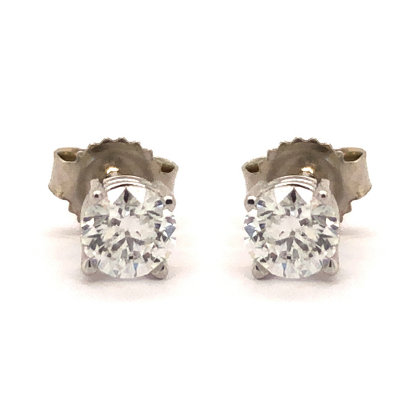 14 Karat White Gold 1/2 Carat Round Diamond Stud Earrings Robert Irwin Jewelers Memphis, TN