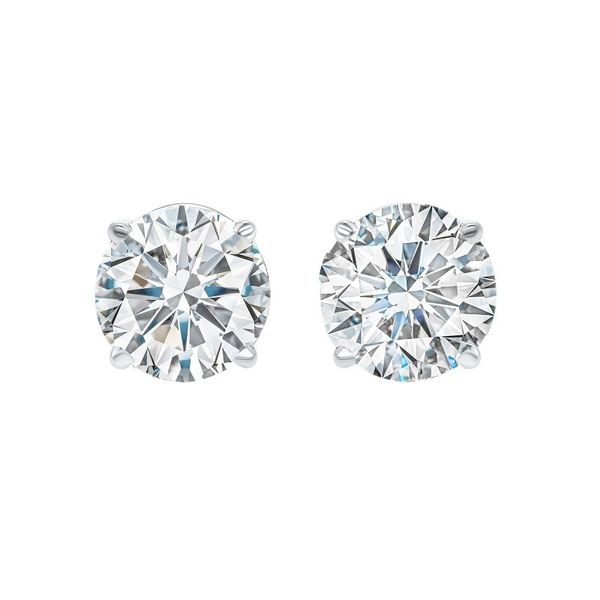 14k White Gold 0.70ctw Round Diamond Stud Earrings Robert Irwin Jewelers Memphis, TN