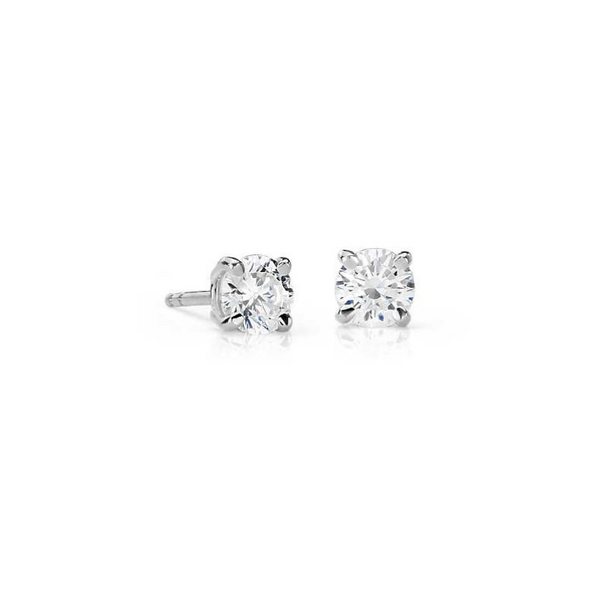 10k White Gold 1/16ctw Diamond Round Diamond Stud Earrings Robert Irwin Jewelers Memphis, TN