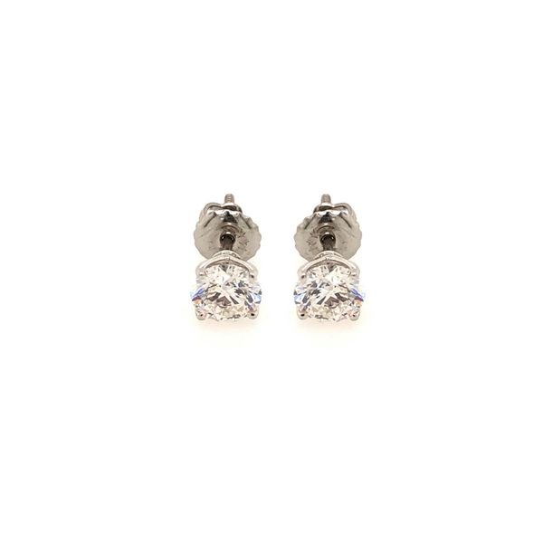14k White Gold 1.16ctw Round Lab Grown Diamond Stud Earrings Robert Irwin Jewelers Memphis, TN