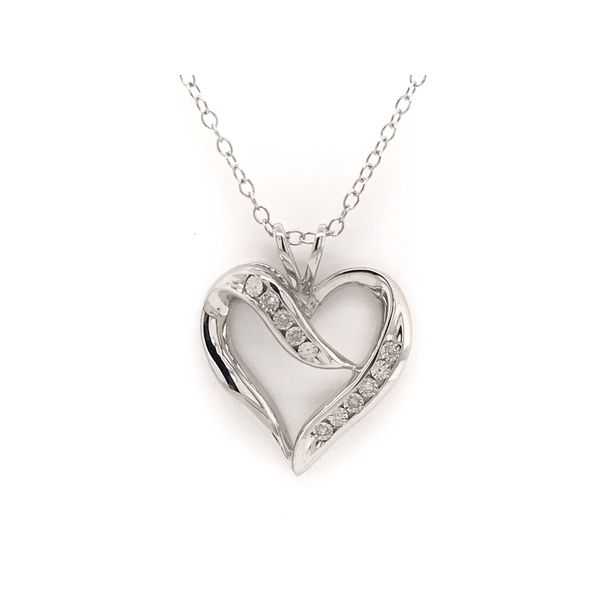 Heart Shaped Sterling Silver 0.02ctw Diamond Pendant Robert Irwin Jewelers Memphis, TN