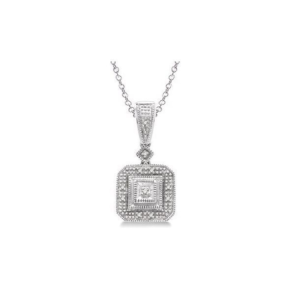 1/20 Ctw Single Cut Diamond Vintage Pendant in Sterling Silver With Chain Robert Irwin Jewelers Memphis, TN