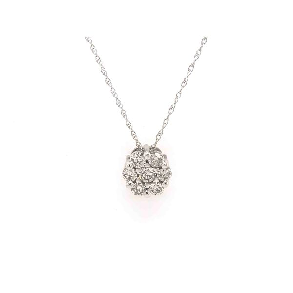 14k White Gold 0.10ctw Diamond Flower Cluster Pendant with 18 Inch Chain Robert Irwin Jewelers Memphis, TN