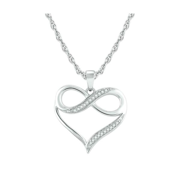 10k White Gold 0.06ctw Diamond Infinity Heart Pendant Robert Irwin Jewelers Memphis, TN