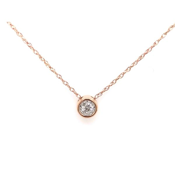 14k Rose Gold 0.10 Diamond Bezel Solitaire Pendant With Chain Robert Irwin Jewelers Memphis, TN