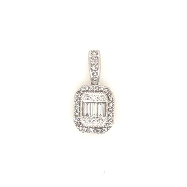 10k White Gold 0.25ctw Baguette and Round Diamond Pendant Robert Irwin Jewelers Memphis, TN